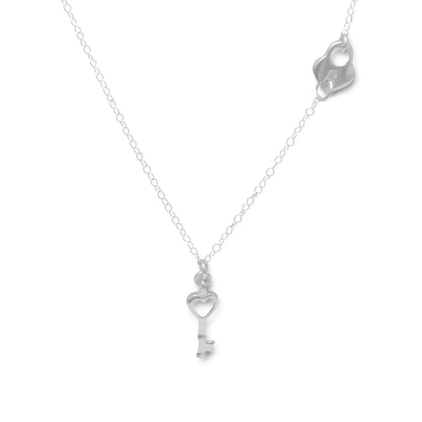 Silver Heart Lock and Key Necklace