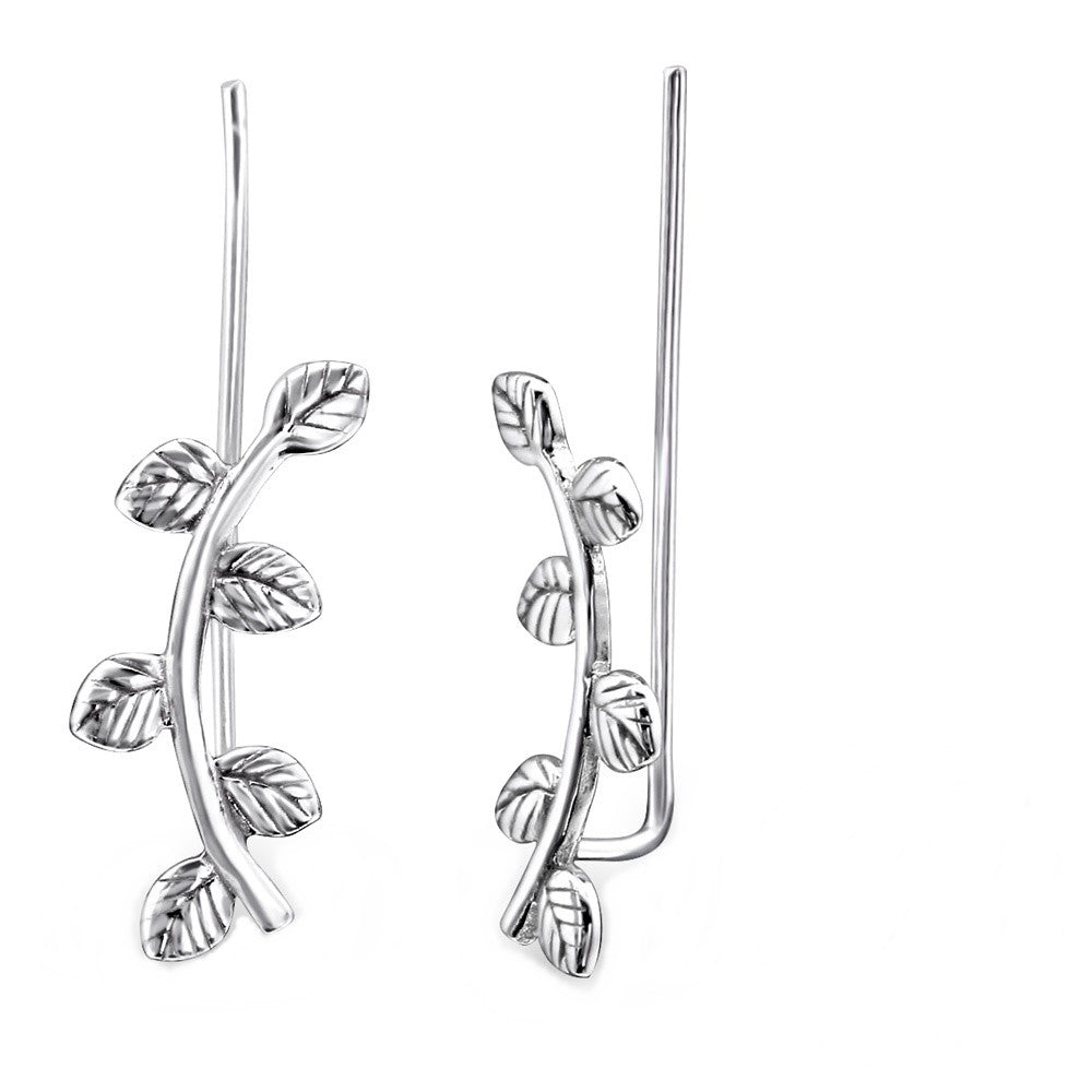 Sterling Silver Leaf Branch Ear Pins