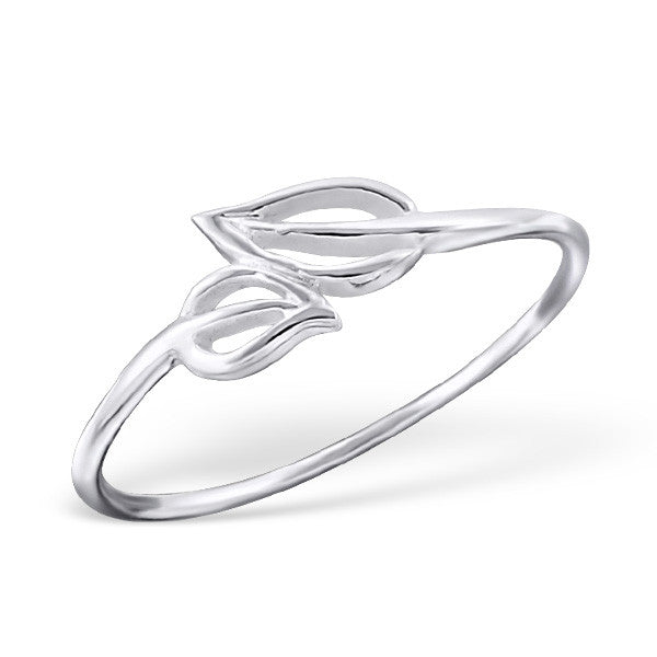 Silver Openwork Leaves Ring