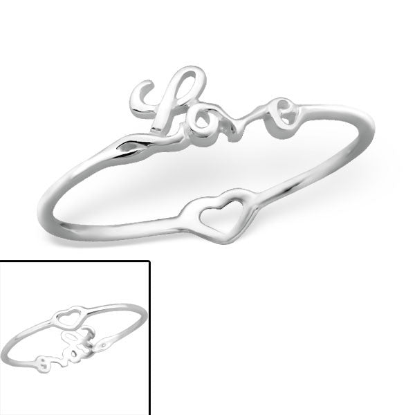 Silver Love / Heart Reversible Ring
