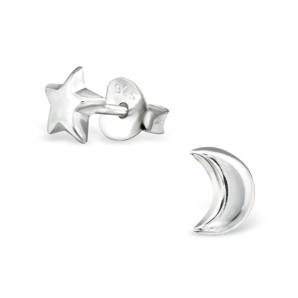 Tiny Silver Crescent Moon and Star Studs