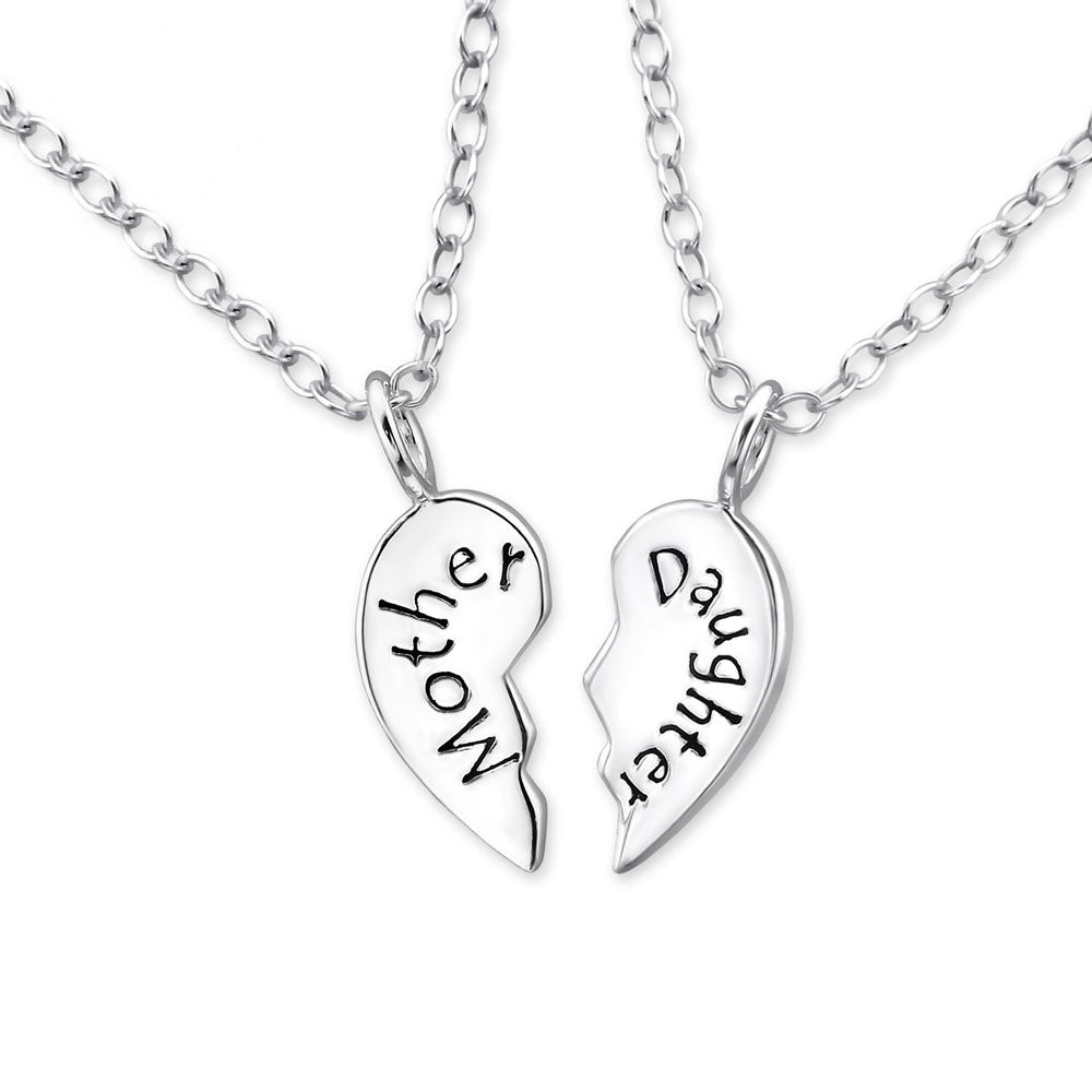 Silver Mother and Daughter Necklace Set