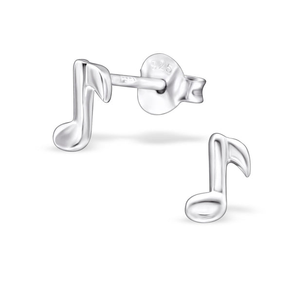 Tiny Silver Music Note Studs