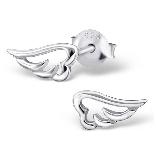 Tiny Silver Angel Wing Outline Studs