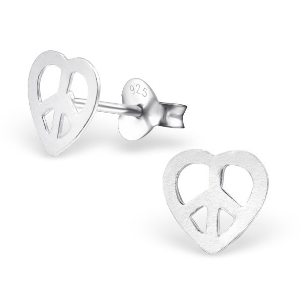Silver Peace Heart Studs