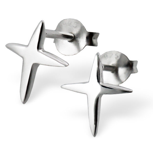 Tiny Silver Pointed Cross Studs