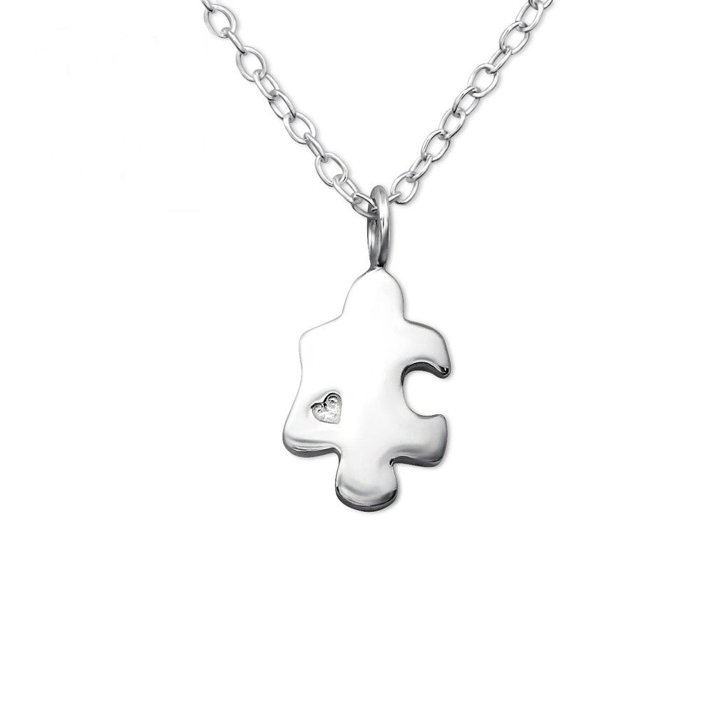 Silver Puzzle Piece Necklace