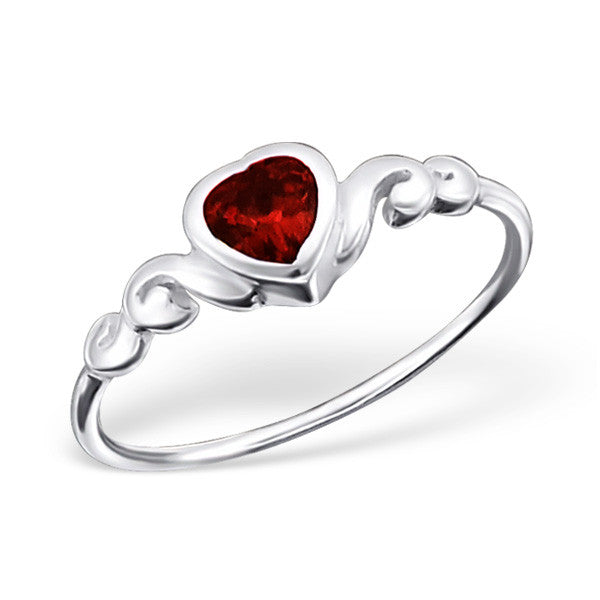 Red Crystal Heart Ring
