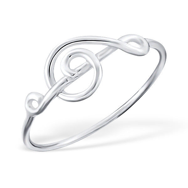 Silver Sideways Treble Clef Ring
