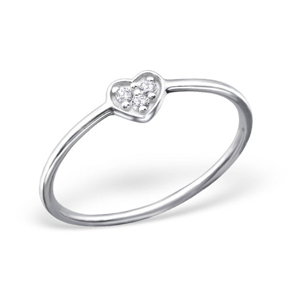 Tiny Crystal Heart Ring