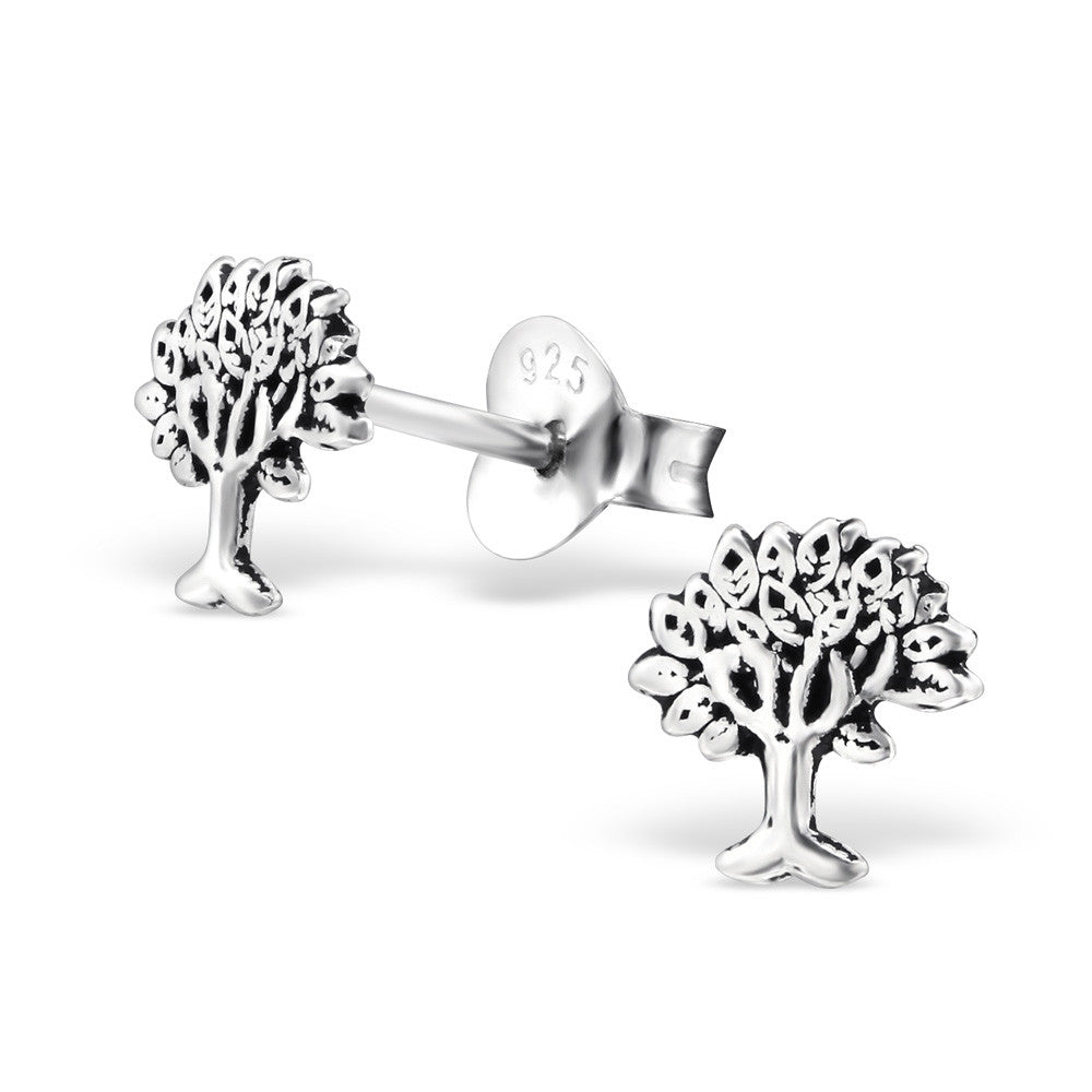 Tiny Silver Rowan Tree Studs