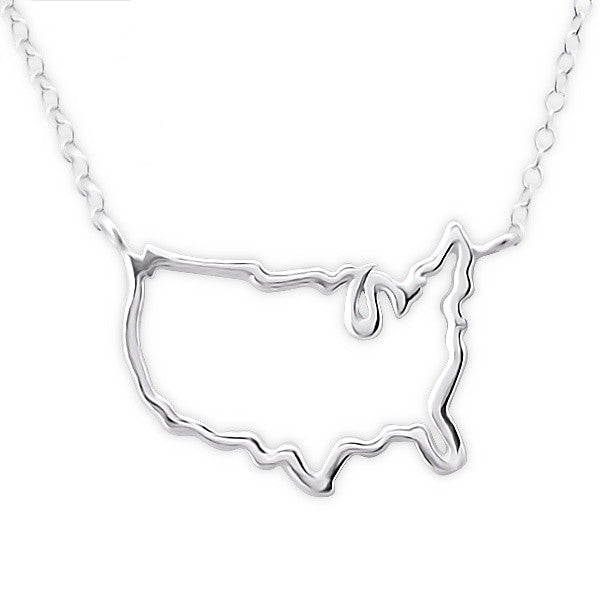 Silver USA Outline Necklace