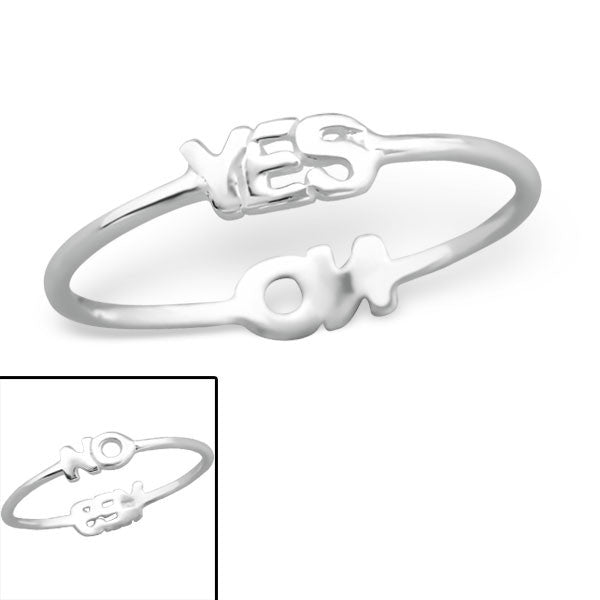 Silver Yes / No Reversible Ring