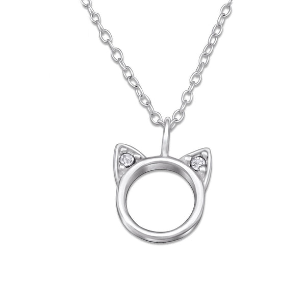 Silver CZ Cat Face Necklace