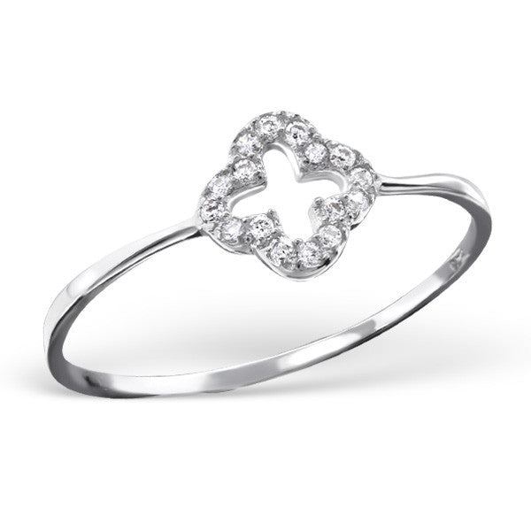Crystal Clover Ring