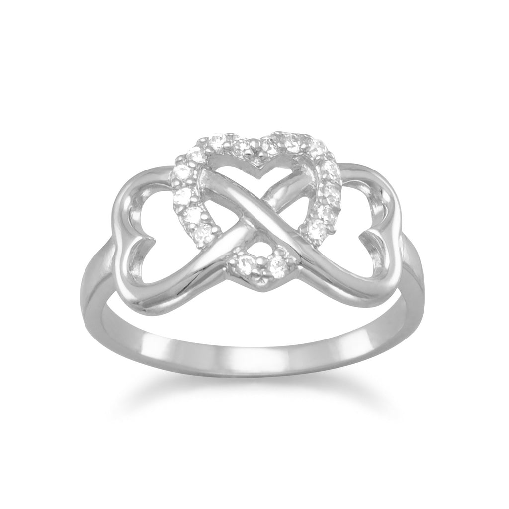 Crystal Infinity Hearts Ring