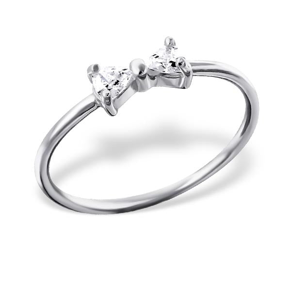 Silver Crystal Bow Ring