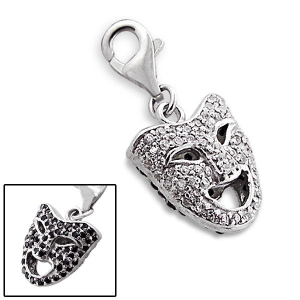 Silver Reversible Crystal Comedy Mask Charm