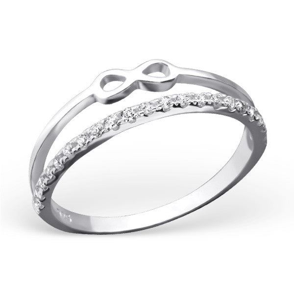 Silver Double Band Crystal Infinity Ring