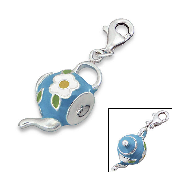 Blue Flower Teapot Charm