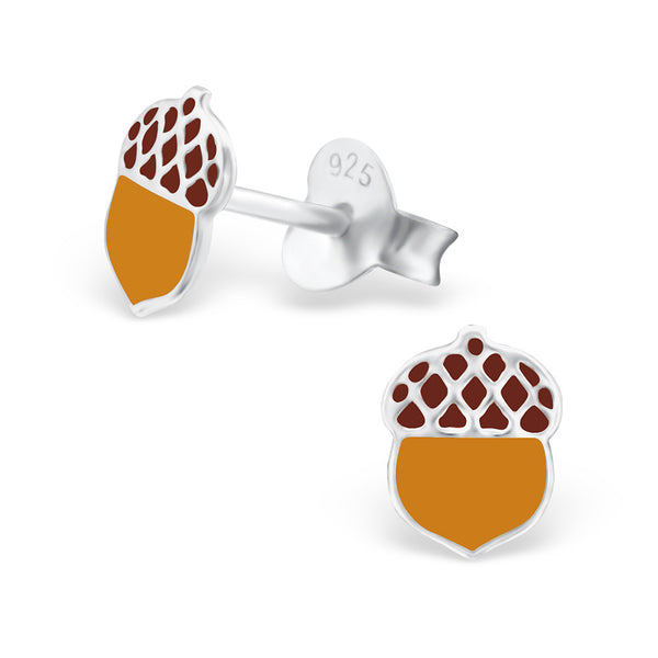 Tiny Brown Acorn Studs