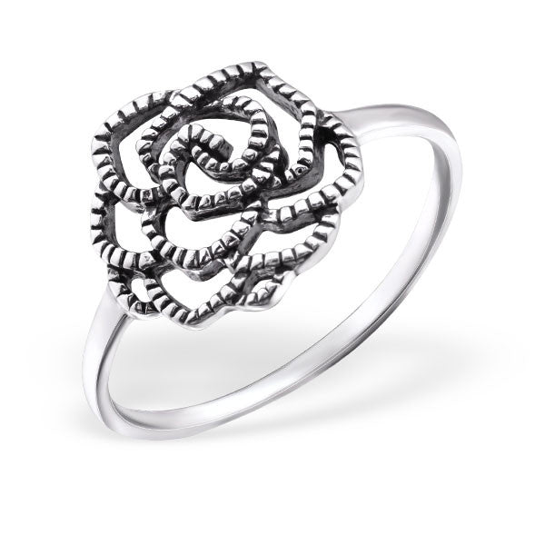 Silver Art Deco Rose Ring