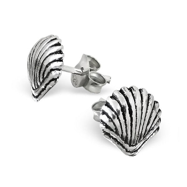 Silver Clam Shell Studs