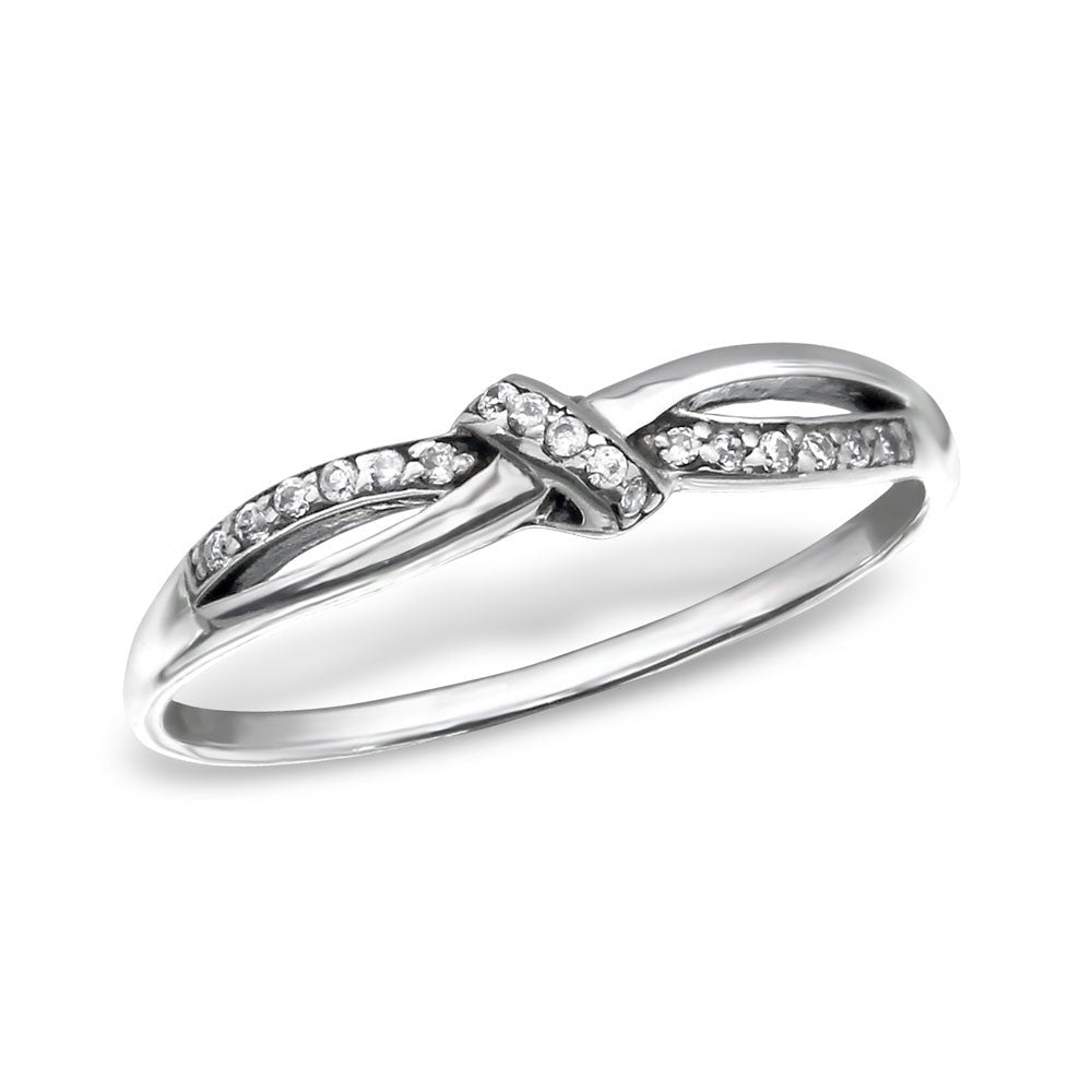 Silver CZ Love Knot Ring