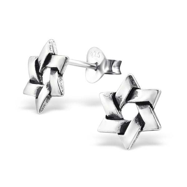 Tiny Silver Star of David Studs