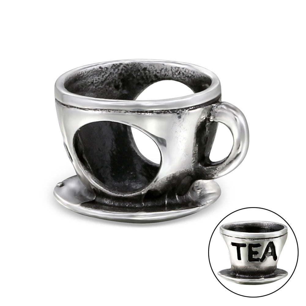 Silver Tea Cup Large Hole Bead