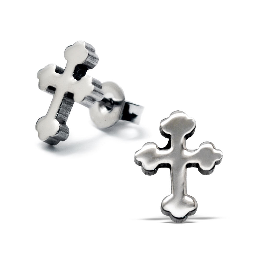 Steel Gothic Cross Studs