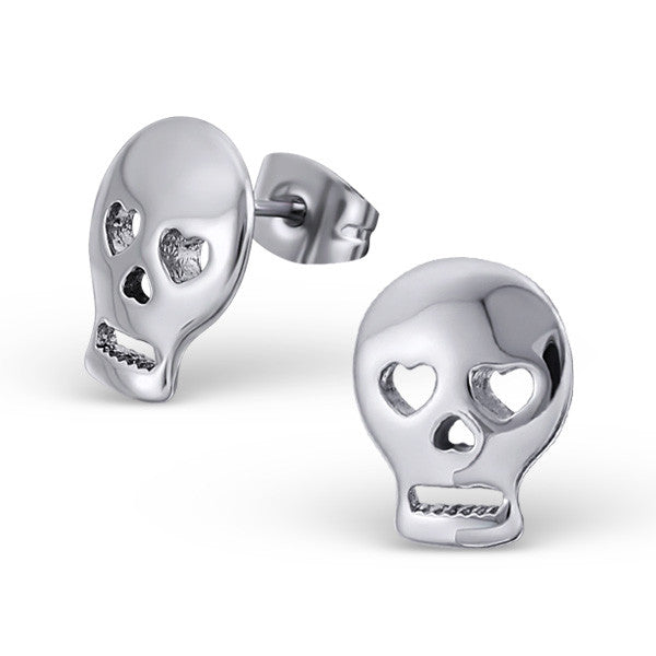 Steel Heart Eyes Skull Studs