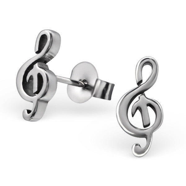 Steel Treble Clef Studs