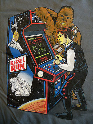 TeeFury T-Shirt - Star Wars - The Kessel Run Chewbacca Han Solo Arcade - New S