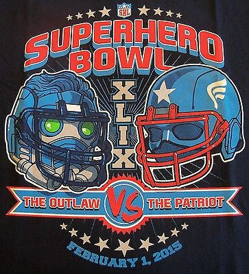 TeeFury T-Shirt - Super Bowl Outlaw vs Patriot Captain America Star-Lord