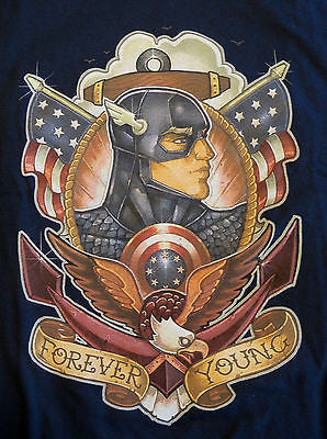 TeeFury T-Shirt - Captain America Forever Young - Adult XL