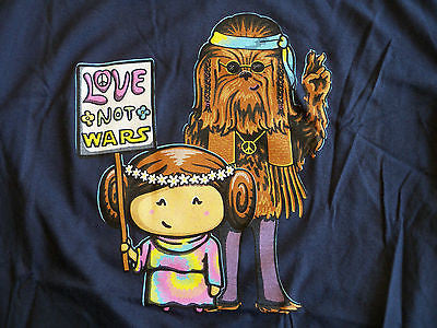 Woot T-Shirt - Star Wars Love Not Wars - Princess Leia Chewbacca Child M 12