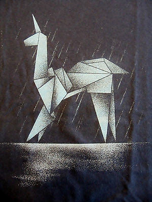 TeeFury T-Shirt - Graphic Tee - Bladerunner Origami Unicorn -  New Adult S Navy