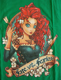 TeeFury T-Shirt - Brave Merida - Fate Loves The Fearless - New Adult XL - Green