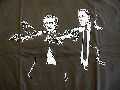 TeeFury T-Shirt - Pulp Fiction Lovecraft Cthulhu Poe Raven - New Adult M