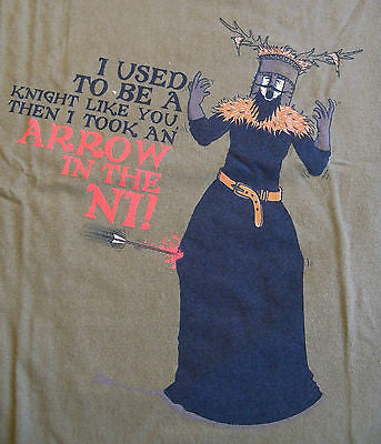 TeeFury T-Shirt - Monty Python Arrow to The Ni Holy Grail - New - Adult M
