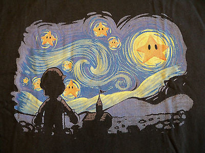 TeeFury - Graphic Tee T-Shirt - Mario Van Gogh Starry Night - New Adult L