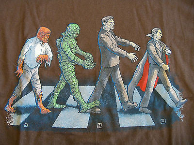 TeeFury T-Shirt - Universal Monster Road - Abbey Road - Beatles - New Adult S