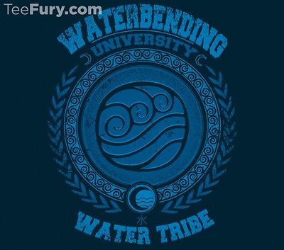 TeeFury T-Shirt -  Avatar Waterbending University Aang Korra - New Adult S