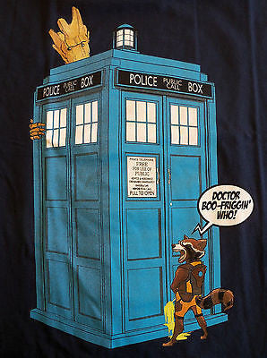 TeeFury T-Shirt - Boo Friggin' Who Groot Rocket Doctor Who Tardis - New Adult S