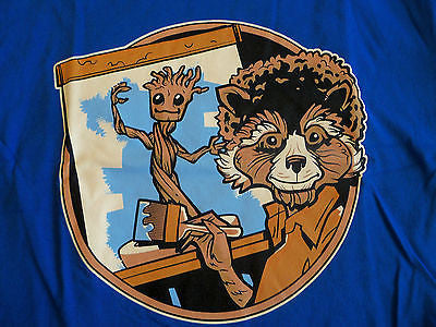 TeeFury T-Shirt - Groot Rocket Racoon Painter Bob Ross - New - Adult S