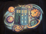 TeeFury T-Shirt - Dr Who Tardis Planets Solar System - New Adult S