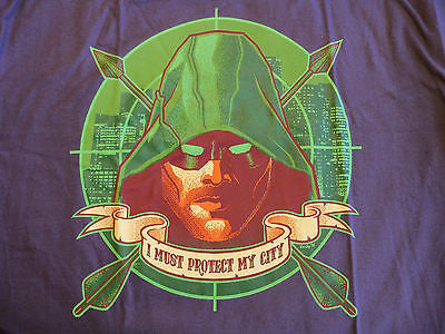 TeeFury T-Shirt -  Green Arrow I Must Protect My City - Adult L