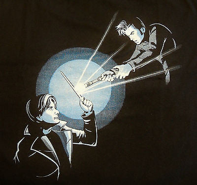 TeeFury T-Shirt - Dr Who - Sonic Screwdriver vs The Wand - New Adult XL