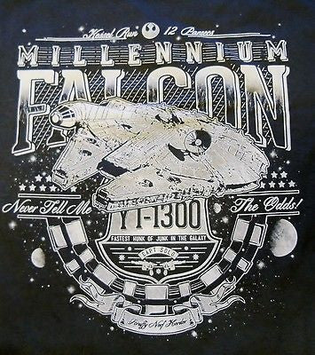 TeeFury T-Shirt -  Star Wars - Millenium Falcon Han Solo - New Adult XL Dk Gray